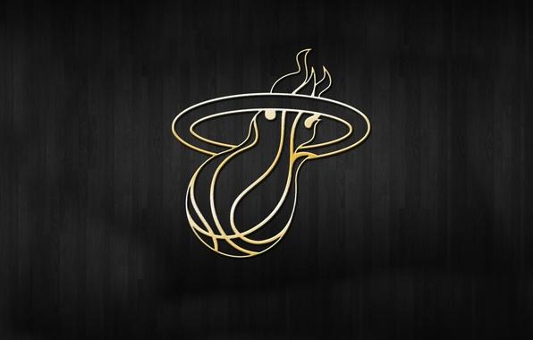 Картинка Фон, Логотип, Золото, NBA, Miami Heat