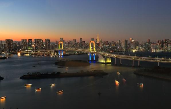 Картинка Tokyo, Japan, twilight, bridge, sunset, dusk, Rainbow Bridge, reflections, Odaiba, Rainbow Town
