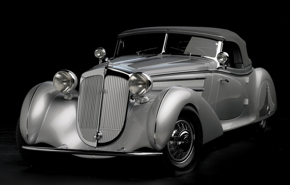 Картинка ретро, серебристый, родстер, полумрак, передок, 1938, красивая машина, Хорьх, Special Roadster, by Erdmann & Rossi, …