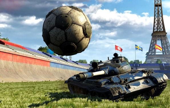 Картинка трава, абстракция, фон, победа, мяч, арт, удар, танк, Эйфелева башня, спортивная, зеленая, арена, красивый, стадион, …