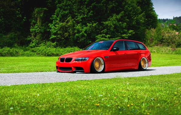 Картинка BMW, Red, Grass, Green, Color, Stance, Low, E91