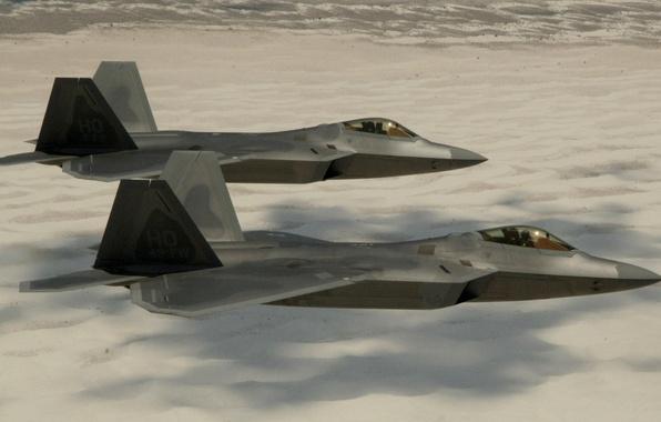 Картинка Песок, Фото, Пустыня, Полет, Истребитель, Высота, Раптор, F-22, Raptor, Многоцелевой, Lockheed/Boeing