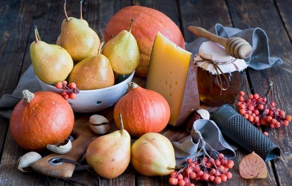 Картинка ягоды, сыр, мед, тыква, фрукты, натюрморт, мёд, овощи, груши