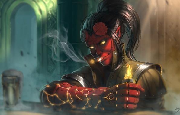 Картинка девушка, огонь, демон, зажигалка, сигара, дьявол, кулак, fan art, hellboy, Hellgirl
