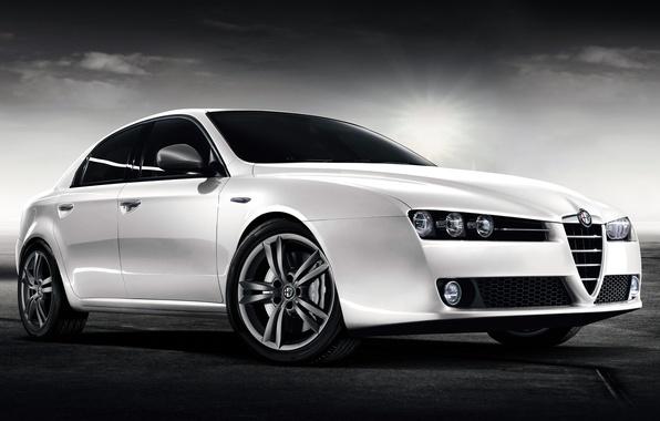 Картинка Белый, Машина, Alfa Romeo, Car, Автомобиль, Cars, White, Альфа Ромео 159