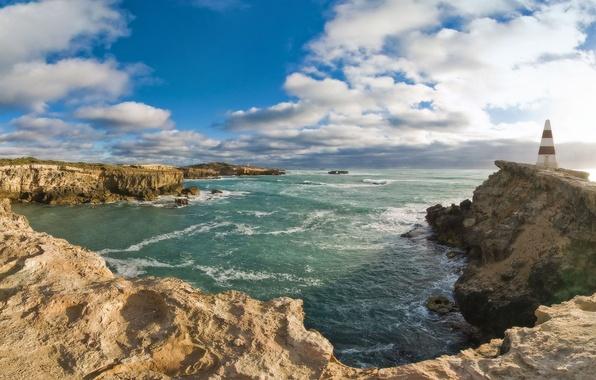 Картинка вода, пейзаж, природа, камни, скалы, маяк