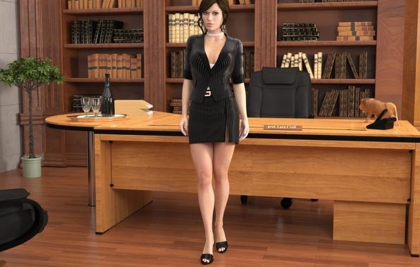 Картинка грудь, взгляд, девушка, ноги, юбка, lara croft, tomb raider, кабинет, professor