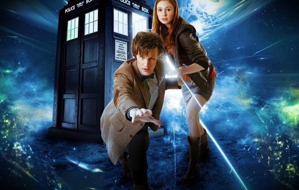 Картинка девушка, фантастика, мужчина, сериал, Doctor Who, Доктор Кто, тардис, полицейская будка, Мэтт Смит, Matt Smith, ...