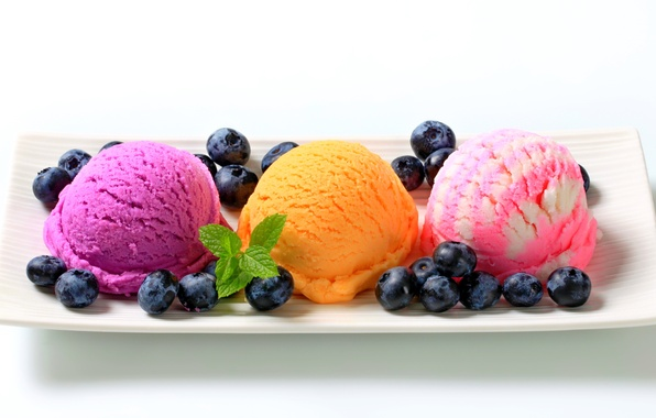 Картинка colorful, plate, fruit, sweet, dessert, berries, delicious, ice cream, yummy