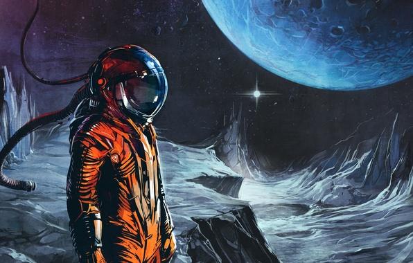Картинка оранжевый, музыка, луна, планета, космонавт, music, скафандр, space, Art, Celldweller, Transmissions vol 02