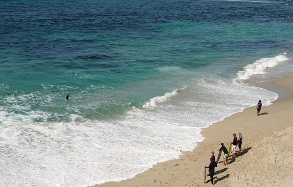 Картинка песок, море, пляж, волные, люди