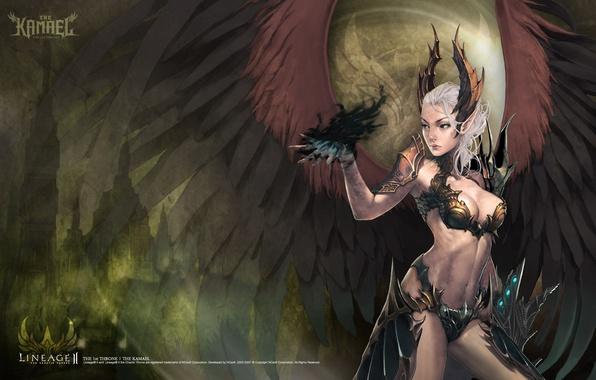 Обои картинки фото чёрный ангел, крылья, lineage