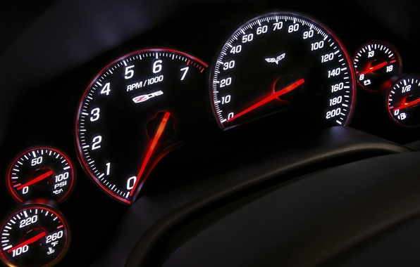 Картинка стрелки, панель, спидометр, приборы, Z06, Corvette, Chevrolet, тахометр