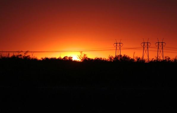 Картинка ночь, красный, восход