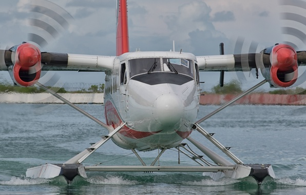 Фото обои самолет, вода, приземление, лопасти