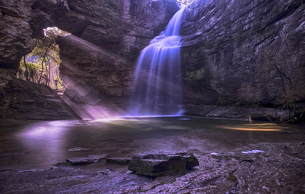 Картинка скалы, водопад, поток, пещера