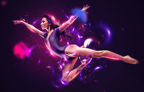 Картинка lights, abstract, white, black, flying, woman, blue, pink, model, purple, dancing, athlete, begie