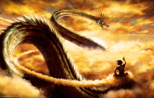 Картинка дракон, аниме, арт, парень, dragonball