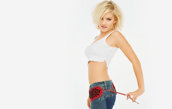 Картинка девушка, джинсы, белый фон, Elisha Cuthbert