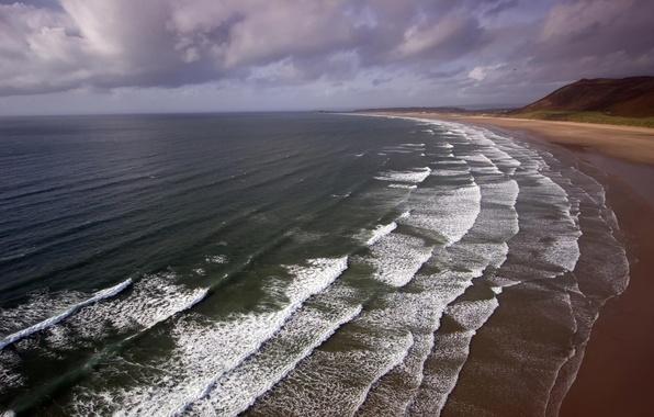 Картинка море, волны, пляж, вода, пейзаж, горы, берег
