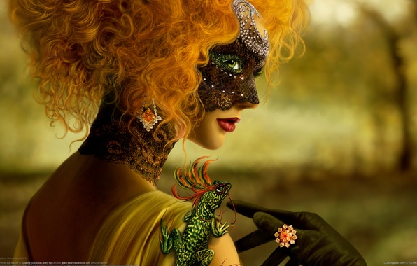 Картинка девушка, маска, рыжая. ящерица, таинственность
