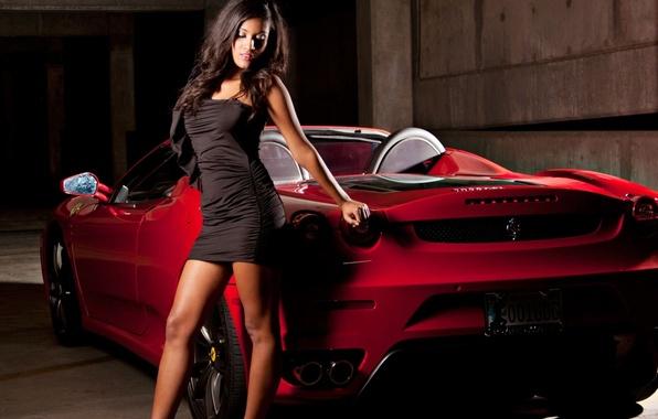 Картинка девушка, платье, Ferrari, кабриолет, Car, феррари, Girls, SA Aperta