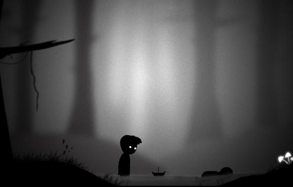 Картинка река, грибы, мальчик, арт, кораблик, limbo
