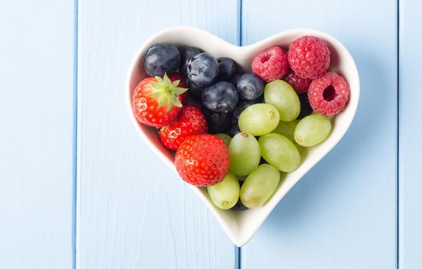 Картинка ягоды, малина, фон, widescreen, обои, сердце, еда, черника, клубника, тарелка, виноград, wallpaper, форма, сердечко, широкоформатные, ...