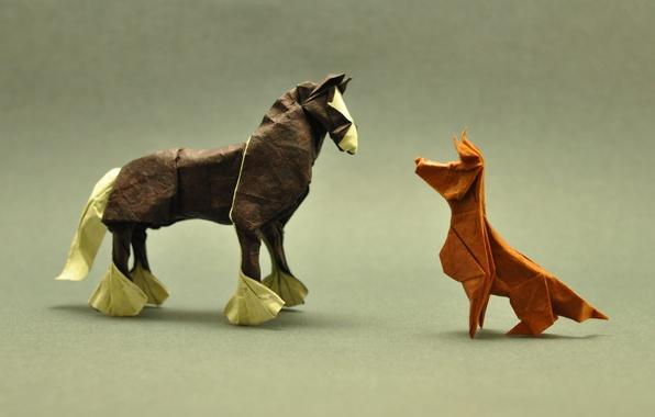 Картинка лошадь, собака, тени, оригами, dog, horse, shadows, origami, лицом к лицу, face to face