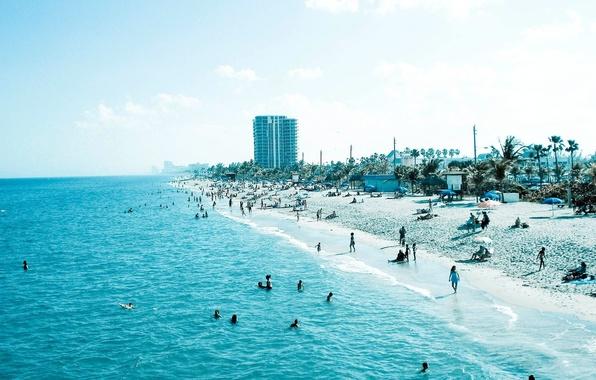 Картинка песок, море, пляж, синий, люди, голубой, отдых, берег, побережье