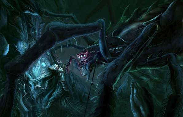 Картинка паутина, паук, арт, The Lord of the Rings, John Ronald Reuel Tolkien, Silmarillion, гигантский, Jossand, …