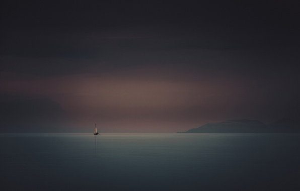 Картинка море, лодка, корабль, парусник, утро, яхта