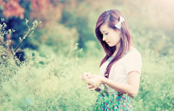 Картинка Girl, Nature, Grass, Beautiful, Asian, Model, Beauty, Cute, Japanese, Outdoor, Calm