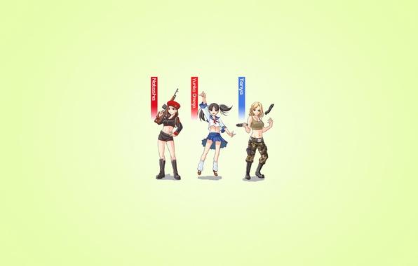 Картинка оружие, девушки, минимализм, три, red alert, светлый фон, трое, Command & Conquer, Наталья Волкова, Татьяна ...