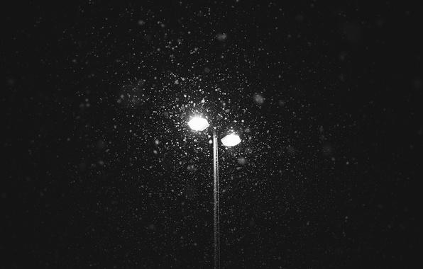 Картинка lights, winter, snowing, lamp post