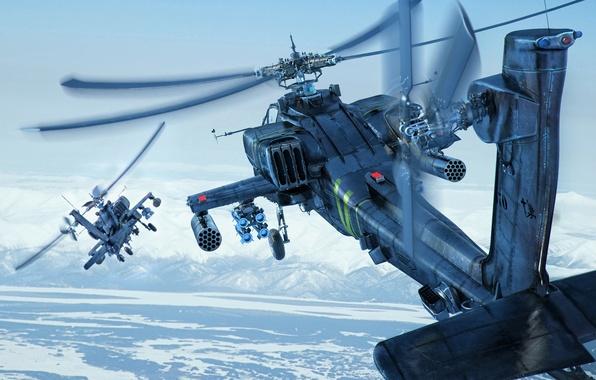 Картинка небо, снег, горы, земля, вертолеты, Boeing, боевые, Apache, AH-64D, ударные, Longbow, helicopters