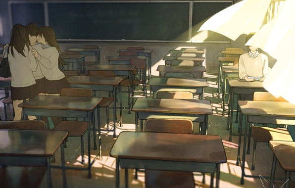 Картинка солнце, девушки, окна, аниме, арт, книга, форма, класс, парень, шторы, школьники, парты, loundraw
