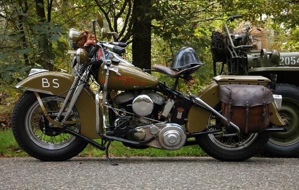 Картинка дорога, мотоцикл, каска, военный, Harley-Davidson, WLA