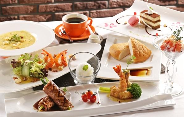 Картинка кофе, хлеб, мясо, пирожное, рис, креветки, морепродукты, японская кухня, блюда, ассорти