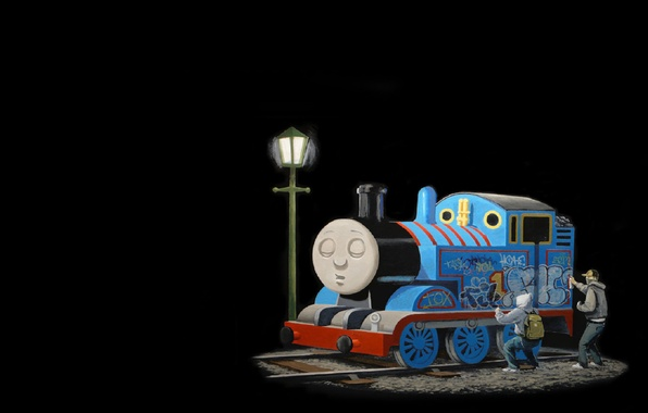 Картинка граффити, поезд, паровозик, Banksy, Томас, Бэнкси