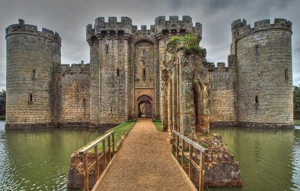 Картинка stone, bridge, water, Castle, medieval, entrance