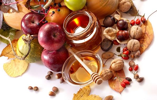 Картинка осень, листья, яблоки, еда, мед, шиповник, ложка, фрукты, орехи, овощи, груши, баночка, каштаны, пиала