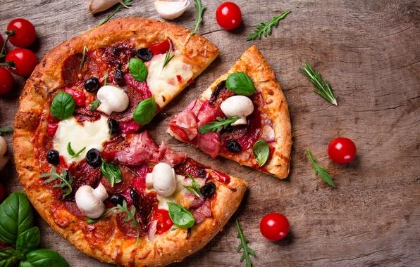 Картинка грибы, сыр, пицца, помидоры, маслины, шампиньоны, ветчина, салями