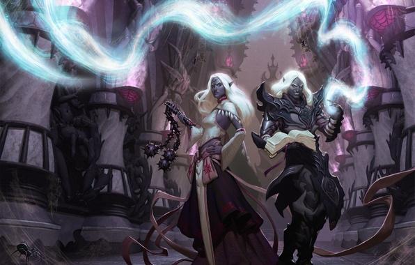 Картинка девушка, оружие, магия, паук, арт, эльфы, парень, дроу, Dungeons and Dragons