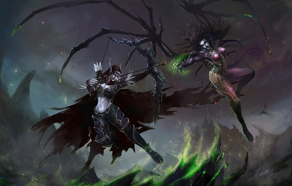 Картинка оружие, девушки, скалы, крылья, лук, арт, starcraft, World of Warcraft, битва, Sarah Kerrigan, sylvanas windrunner