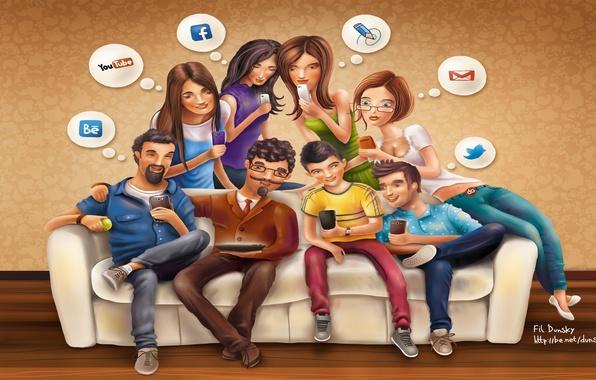 Картинка facebook, email, youtube, twitter, социальные сети, social networks