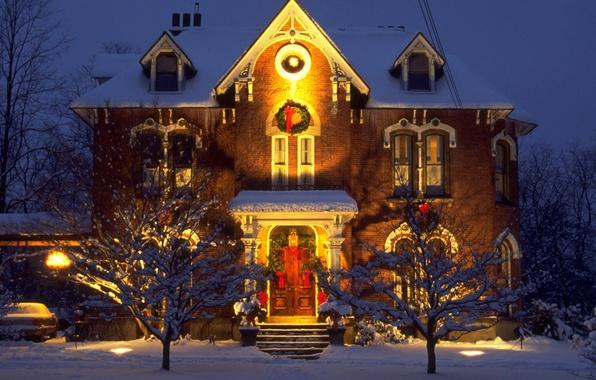 Картинка ночь, дом, гирлянды