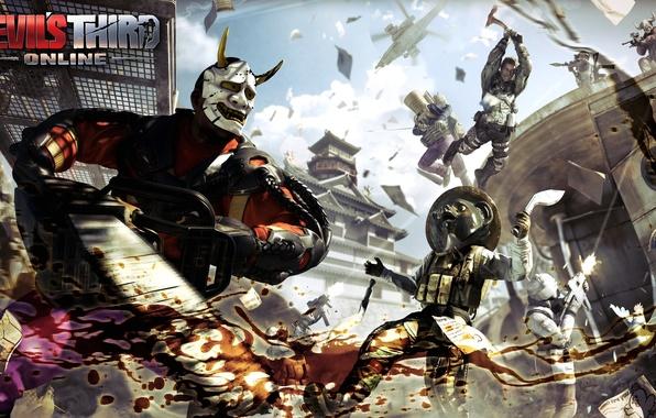 Картинка небо, тучи, оружие, прыжок, кровь, бой, маска, лого, броня, logo, вертолёт, топор, пила, Online, персонажи, …
