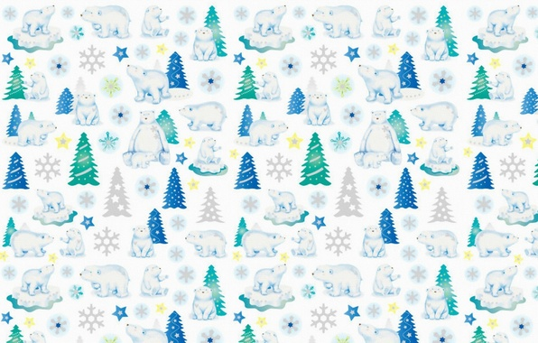 Фото обои фон, праздник, текстура, мишка, Новый год, ёлочка, снежинка, звёздочка