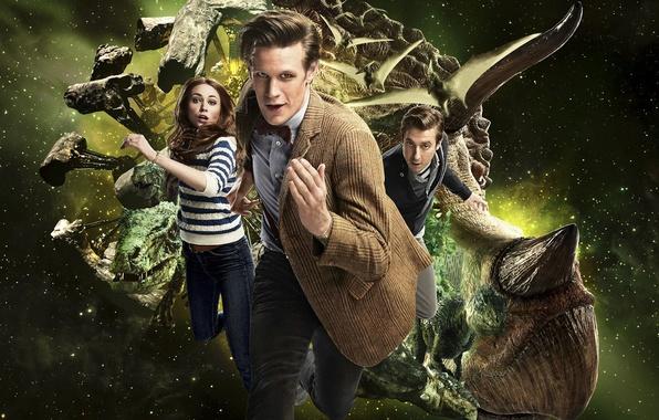 Картинка космос, Доктор, динозавры, сериал, Doctor Who, Доктор Кто, Эми, Amy Pond, Эми Понд, Arthur Darvill, ...